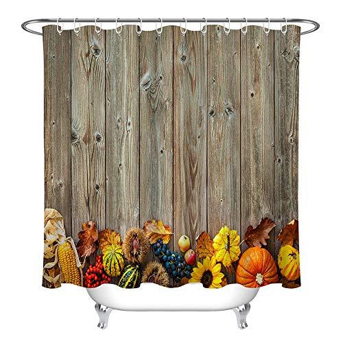 Obst, Gemüse, Blätter, Holzbrett, einfacher Duschvorhang Badezimmer Vorhang Dekoration wasserdichter Stoff