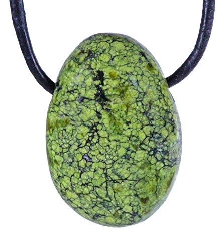 Lebensquelle Plus Colgante de piel de serpiente, jaspe, gota, colgante, piedra perforada, con correa de cuero