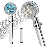 Hélice, cabezal de ducha giratorio de alta presión, hélice, fácil de instalar, con turbocompresor, conexión universal de 360 grados, polipropileno, algodón (azul)