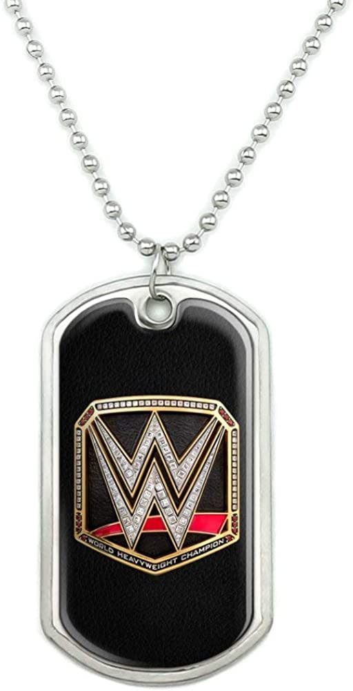 GRAPHICS & MORE WWE World Heavyweight Champion Title Logo Military Dog Tag Pendant Necklace with Chain