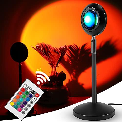 ROTEK Sunset Projector Lamp, Einstellbar 16 Farben Sonnenuntergang Projektor Stehlampe Fotografie Hintergrund Drehung Romantische Visuelle Stimmungslampe Beleuchtung Deko