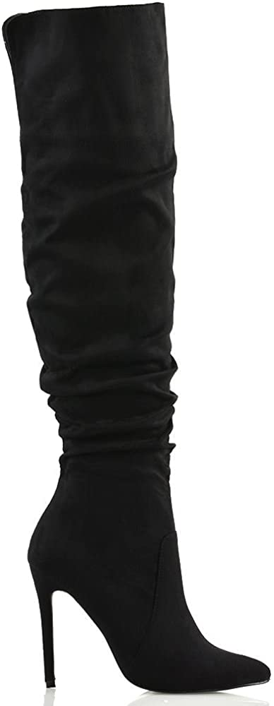 ESSEX GLAM Womens Stiletto High Heel Pointed Toe Slouch Ruched Faux Suede Knee High Boots