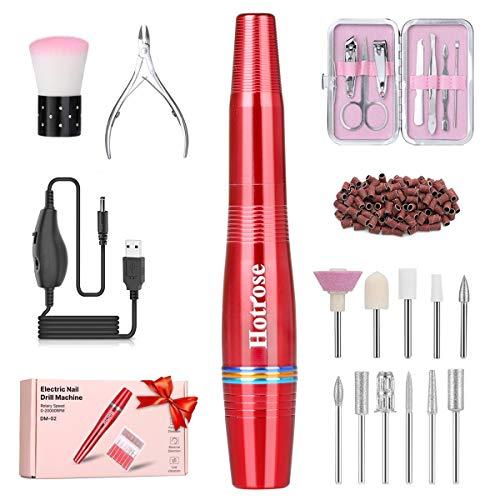 Elektrische Mini Nagel Bohrmaschine Tragbares Maniküre und Pediküre Set, Stiftform Nagelfeilen Kit für Acryl, Gelnägel und Den Gebrauch im Salon