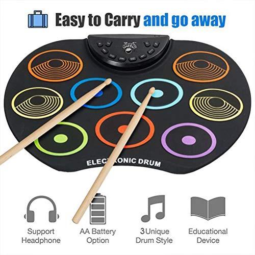 HERAHQ E-Drum Pads 9 Kit, bewegliche Coaching Musik-Spiel-Spielzeug mit anschlagdynamischen Drum Pads, Geburtstag Festival-Geschenk für Kinder und Anfänger