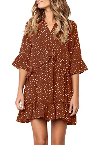 MITILLY Women's V Neck Ruffle Polka Dot Pocket Loose Swing Casual Short T-Shirt Dress Medium Brown