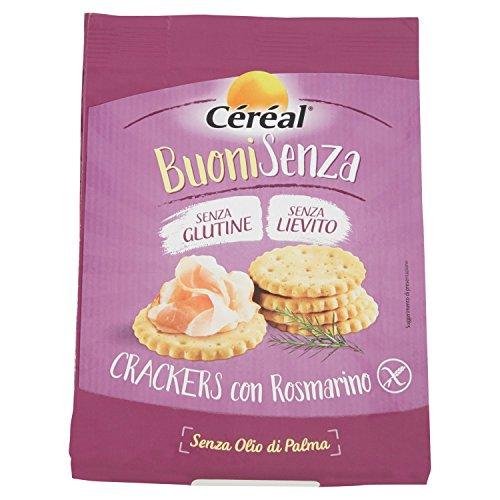 Crackers senza Glutine con rosmarino Céréal Senza lievito, per aperitivo, spuntino o snack salato,...