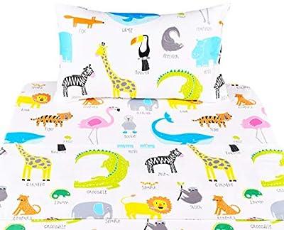 Scientific Sleep Cotton Cozy Twin Bed Sheet Set, Flat Sheet & Fitted Sheet & Pillowcase Boys Girls Bedding Set