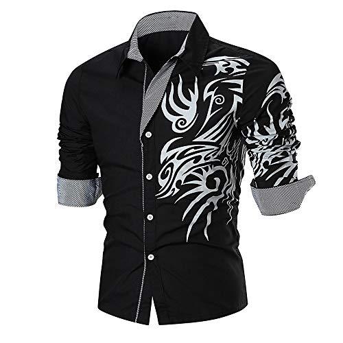 DNOQN Longsleeve Herren V Ausschnitt Poloshirt Baumwolle Sommer Lässig Schlank Langarm Bedrucktes Hemd Top Persönlichkeit Bluse Schwarz 2XL