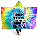 Alvayon Rainbow Saying Lilo and S-tit-ch Soft Warm Flannel Fleece Throw Blanket Wrap Wearable Hooded Blanket Fits Adults Women Men Boys Girls