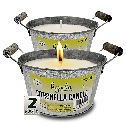 HYOOLA Large Citronella Candles Outdoor Bucket - 30 Hour - 2-Pack - Natural Repellent - European Made