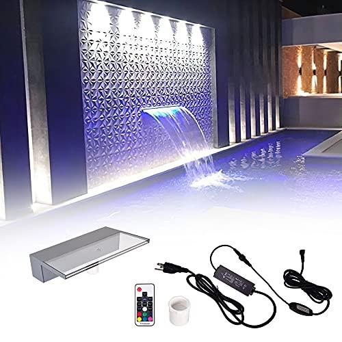 Pondo 30cm Acryl Wasserfall Mit 7 Farbvarianten LED Beleuchtung Und Fernbedienung für Gartenteich Pool Teich, Beleuchtete Wasserfall Garten Kaskade Mit LED Licht