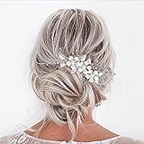 Vakkery - Diadema de novia con diseño de flores plateadas, para damas de honor