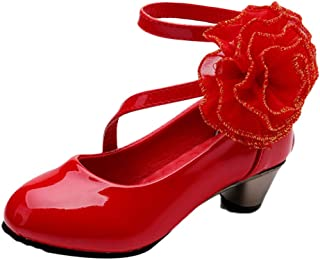 Hopscotch Girls Pu Flower Applique Mary Jane in Red Color