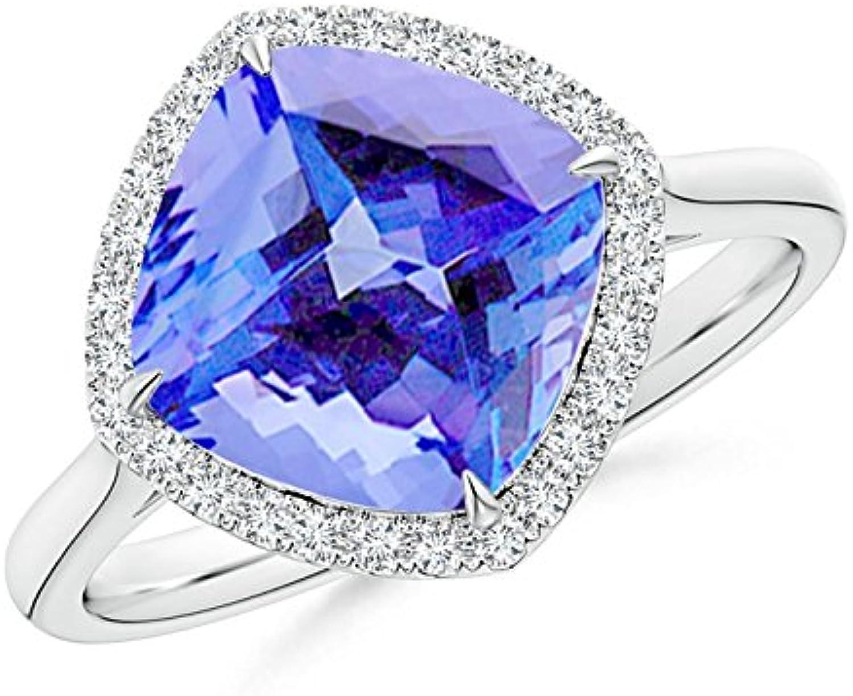December Birthstone  Cushion Cut Tanzanite Statement Ring with Diamond Halo
