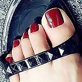 Brishow faux ongles d'orteil Stick on Toe Nails Rouge Faux Pieds Ongles Artificielle Acrylique Orteil Ongles 24 Pcs pour Femmes et Filles
