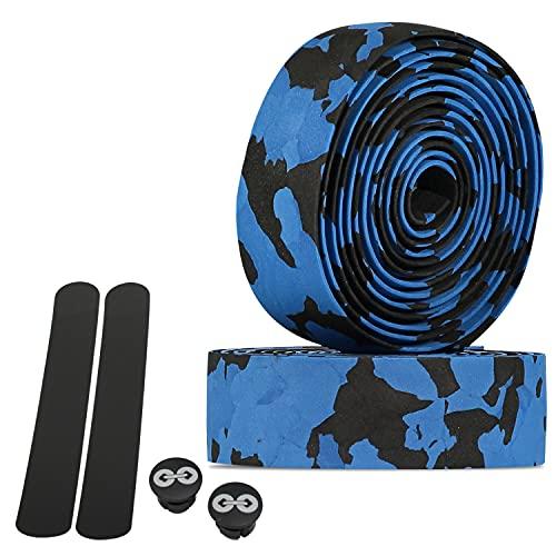 URBAN ZWEIRAD Cinta para Manillar de Bicicleta Resistente al desgarre, Incl. Tapas Laterales y Bandas Adhesivas - Extremadamente Antideslizante y fácil de Colocar (Camo Negro/Azul, elástico)