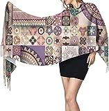 Bufanda de estilo tribal de mandala floral con flecos para mujer, ligera, de cachemira, para hombre,...