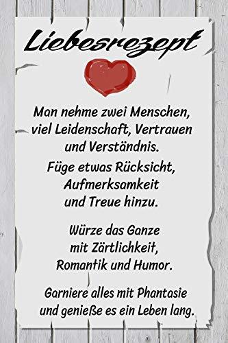 NWFS Spruch Liebesrezept Rezept für Die Liebe. Blechschild Metallschild Schild Metal Tin Sign gewölbt lackiert 20 x 30 cm