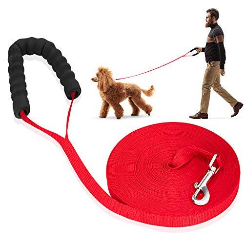 LITSPOT Schleppleine für Hunde,30M Rot Hundeleine Lang Langlaufleine für Große, Mittlere Und Kleine Hunde Lange führen ideal für Training, Spielen, Camping oder Hinterhof