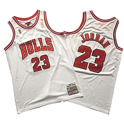 GHJK Jordan 23 # - Camiseta de baloncesto para hombre, diseño retro, malla transpirable, Jordania, Bulls, regalo para fans de MJ de entrenamiento, color blanco y M