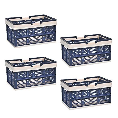 BELIFEGLORY Plastic Storage Basket Multifunctional Folding Household Portable Storage Crate Stackable Storage Containers Bins with HandlesPack of 4