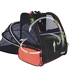 Texsens Pet Expandable Backpack Carrier for Dogs Cats Puppy – with Ventilated Breathable Mesh Expandable Bag – Designed for Traveling, Hiking & Outdoor Use(Orange)