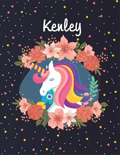 Kenley: Unicorn Blank Lined Journal Notebook For Girls | Primary Story Journal , 8,5 x 11 , 120 Pages Cute Unicorn Notebooks | Grades K-2 Composition School Exercise Book