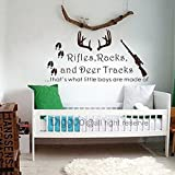 Rifles Racks & Deer Tracks That's What Little Boys Are Made Of - Baby Boy Nursery Decor - Hunting Theme Camo Deer Room(Dark brown,xs)