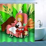 N\A Chica de Dibujos Animados Cortina de Ducha Decoración Chica sentada en un sofá Rosa y Leyendo Historias a Animales Oso Pardo Conejos Pájaro Hojas Flor Setas Cortina de baño Poliéster Impermeable