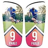 SAQUITOMAGICO Espinilleras Personalizadas con tu Foto y Dorsal para Niños y Adultos (Arrow, S (Adulto))