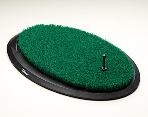 Fiberbuilt Flight Deck Golf Hitting Mat - Oval Shape Outdoor/ Indoor Real Grass-Like Performance Golf Mat with Durable Adjustable Height Tee, Black/Green, 21.25' x 13.5' x 1.75'