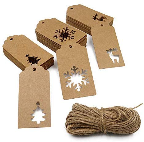 150PCS Etiquetas de Navidad, Etiquetas de regalo de papel Kraft con 66 pies de yute Guita Etiquetas colgantes Árbol de...