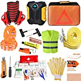 heyloo Car Emergency Roadside Assistance Kit,Multifunctional Roadside Assistance Auto Safty Kit with Digital Air Compressor,Jumper Cable and More Ideal Accessories