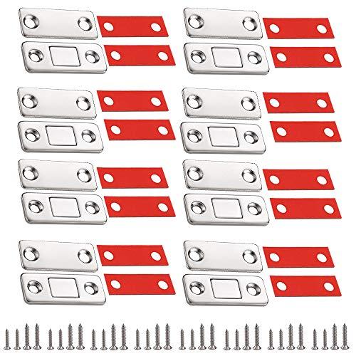 QUCUMER 8 Pcs Imanes Puertas Armario Iman Puertas Correderas Iman Puerta Adhesivo Iman Cerrar Puertas Iman Magnetico para Armario Cajones Puerta Corredera Contraventanas + 16 Adhesivos + 32 To