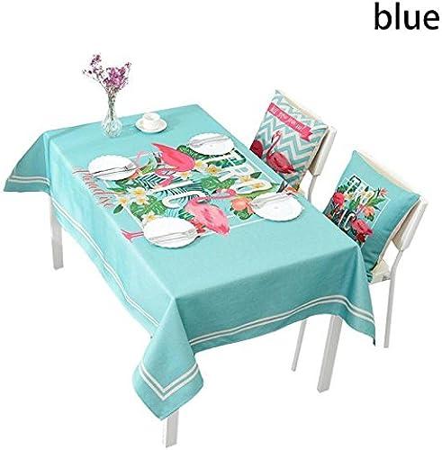 BlauLSS Werk verl t Bedruckte Baumwolle Leinen Tischdecke Abdeckungen für Home Decoration Outdoor Pastorale Tischdecke toalha de mesa L 50 Blau 140 x 180cm