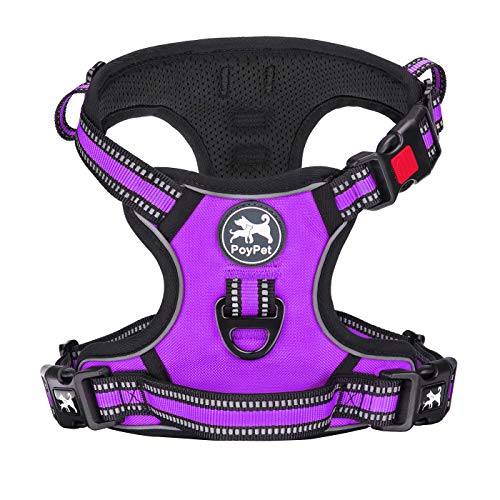 PoyPet No Pull Dog Harness, [Release on Neck] Reflective Adjustable No Choke Pet Vest with Front & Back 2 Leash Attachments, Soft Control Training Handle for Small Medium Large Dogs(Purple,S)