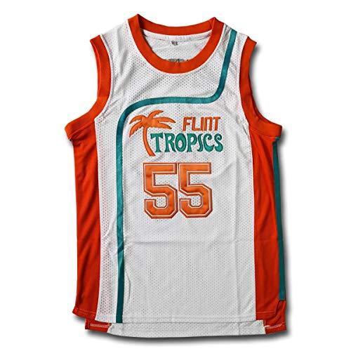 MOLPE Moon 33 Flint Tropics Basketball Jersey and Shorts, Halloween Costume, 90S Hip Hop Clothing (55-White, XL)