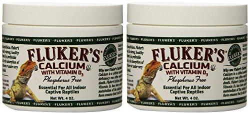 (2 Pack) Fluker's Calcium Reptile Supplement with Added Vitamin D3 (4 Ounces Per Pack)