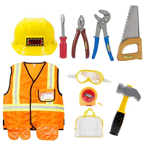 Mizzuco Kids Dress Up Role Play Kits Pretend Costume for Halloween and Holiday (Worker)