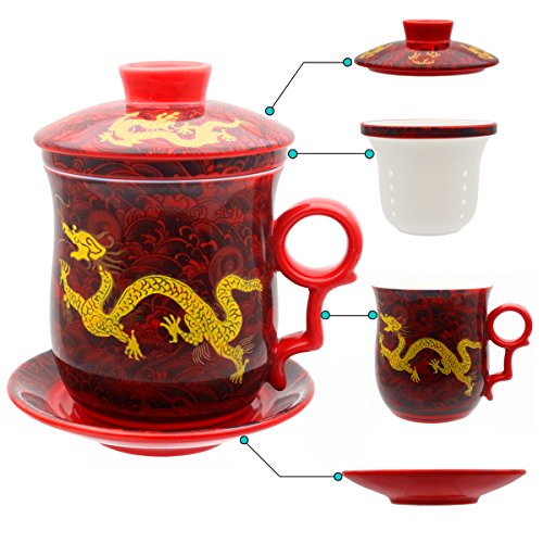 HOLLIHI Tasse à thé Hollihi avec couvercle, soucoupe, filtre, en porcelaine chinoise de Jingdezhen