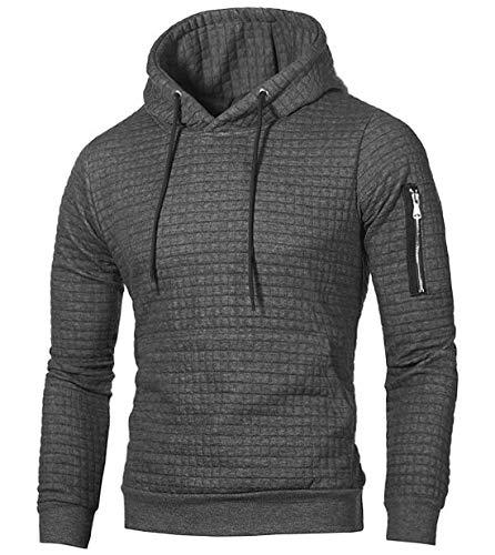 NEWISTAR Kapuzenpullover für Herren Grau Einfarbig Freizeit Hoodie Kapuzensweater Slim Fit