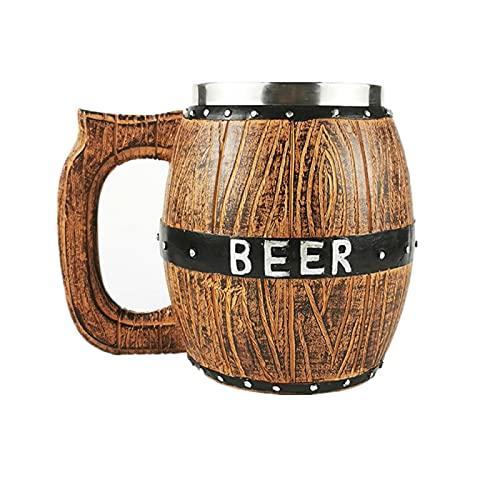 RZHIXR Taza De Cerveza De Barril De Madera De Acero Inoxidable Taza De Barril De Cerveza De Corbata Creativa De Gran Capacidad Suministros De Barra Personalizados 580Ml