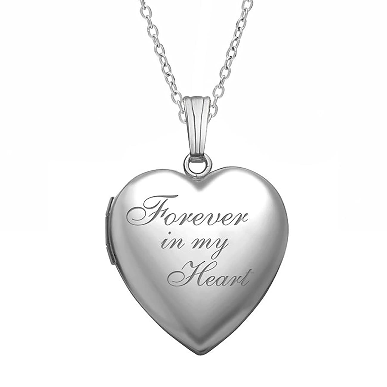 PicturesOnGold.com Forever in My Heart Locket Necklace Pendant in Sterling Silver - 3/4 Inch X 3/4 Inch - Includes 18 inch Cable Chain