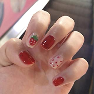 Fdesigner Matte False Nails Art Accessories Strawberry Short Fake Nails Tips Cute Acrylic Clip on Nail Artificial Nail Decoration for Wedding Party Date Prom (Red)