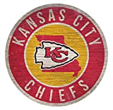 Fan Creations Kansas City Chiefs Wood Sign 12 Inch Round State Design