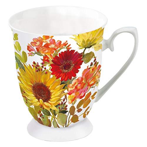Ambiente Porzellan Becher Mug Tasse Tee / Kaffee ca. 0.25L Floral Sunny Flowers Cream