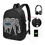 Autism Awareness Elephant USB Backpack School Bag School Bookbag Travel Bag Computer Bag