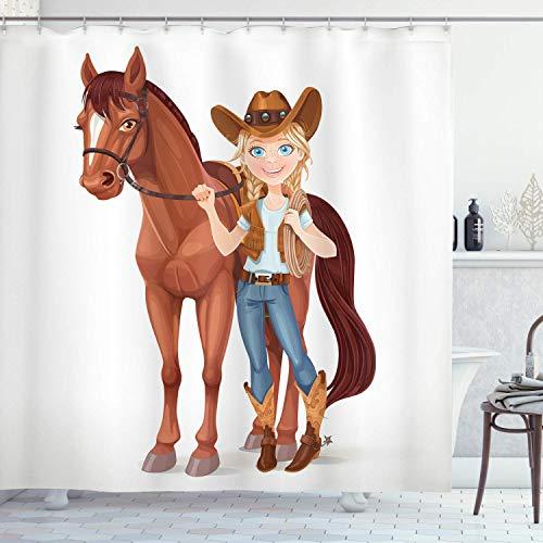 ASDAH 48x72inch paard douchegordijn tiener meisje gekleed als een cowboy houdt teugels gezadeld paard westerse thema cartoon stijl doek stof badkamer decor set met haken donker