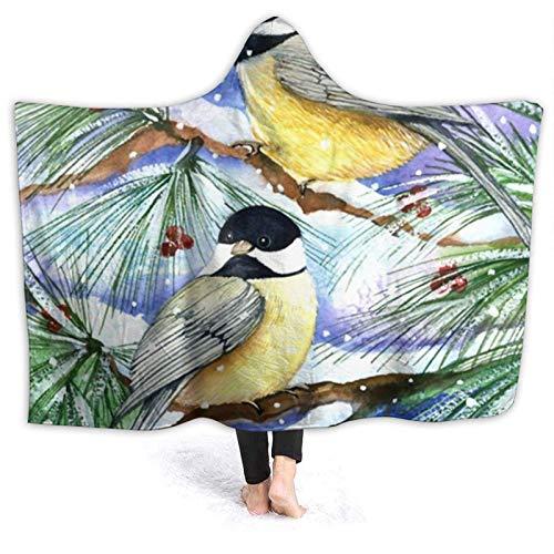 ZHENGYUAN Manta portátil Snowy Birds con capucha, capa de verano, para adultos, duradera, para exteriores, franela, con mangas, 80 × 60 cm