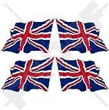 BRITISCHE UNION JACK Wehende Fahne Großbritannien, UK 50mm Auto & Motorrad Aufkleber, x4 Vinyl Stickers